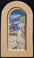 Artist Mary Adshead: Study of harbour, for the Tea Room mural, Luton Hoo, Bedfordshire, c.1949