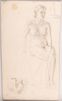 Artist Min Lewis: Life study, female nude seated, three quarter view