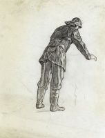 Artist Muirhead Bone: Study for Winter Mine-Laying off Iceland, 1942