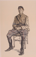 Artist Muirhead Bone: A Highland Officer - Lieutenant D.H. Georgeson, Seaforth Highlanders, Intelligence Officer 44th Brigade Headquarters, circa 1916