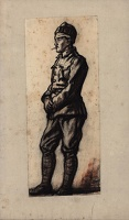 Artist Muirhead Bone: Study of a wounded Tommy