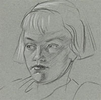 Artist Raymond Sheppard: Portrait of young girl, head and shoulders, late 1940s