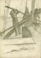 Artist Richard Carline: Sailors manning the sails of the Grace Harwar, Orinico River, circa 1930