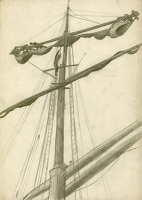 Artist Richard Carline: Three sailors working on the mast of the Grace Harwar, circa 1930