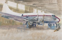 Artist Rudolph Sauter: A British European Airways Vickers Viscount being serviced