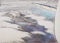 Artist Rudolph Sauter: View from an aeroplane, over snow-capped Sierras, 1959