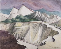 Artist Rudolph Sauter: Clay Pitts, near St. Austell in Cornwall, with purple sky 1948