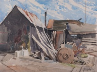 Artist Rudolph Sauter: Outbuildings with machinery
