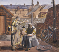 Artist Stanley Lewis: In the back yard, mending a puncture, late 1920s