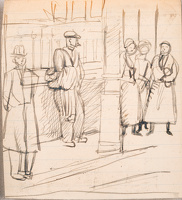 Artist Stanley Lewis: London street scene: figures waiting, circa 1925