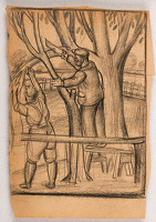 Artist Stanley Lewis: Men cutting a limb from a tree, in the garden at Llwyn-On, Croesyceiliog, mid 1920s