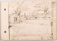 Artist Stanley Lewis: View from WW2 billet, Great Burstead,1944