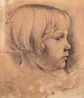 Artist Stanley Lewis: Study of Joan in profile, 1929