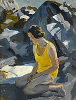 Artist Stephen Bone: Mary Adshead, the artists wife, in a yellow bathing suit, circa 1930