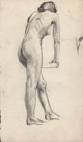 Artist Stephen Bone: Life study, standing female nude,three quarter rear view, (recto, verso)
