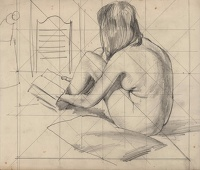 Artist Stephen Bone: Model seated reading 3/4 rear view