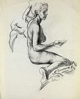 Artist Victor Hume Moody: Nude, seated on blanket, right hand held up, left arm raised