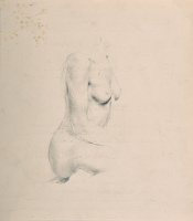 Artist Victor Hume Moody: Half length seated nude, profile view