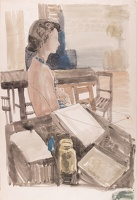 Artist William S Taylor: Audrey in profile by the artists table