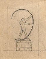 Artist Charles Robert Ashbee: Man arching bow, circa 1897