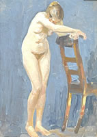 Artist Richard Clifton: Nude, full length, standing with head bowed, arms resting