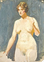 Artist Richard Clifton: Nude, three-quater length, three-quarter view, circa 1915