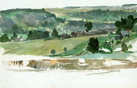 Artist Charles Cundall: Houghton Village and Amberley Chalk Pit, 1969