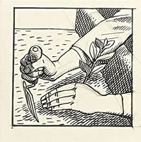 Artist Evelyn Dunbar: Design for Gardeners Choice- hands with trowel, circa 1935