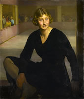 Artist English School: Portrait of Mollie Phillips the Olympic Ice Skater, at The London Ice Club, early 1930s