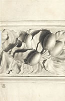 Artist Walter Bonner Gash: Drawing of fruit from plaster cast in relief