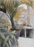 Artist Hubert Arthur Finney: Interior with Plants