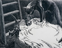 Artist Raymond Sheppard: Mother attending to her two kittens, 1913-1958