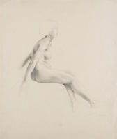 Artist Marion Adnams: Seated nude, profile view,
