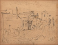 Artist Peter Humphrey: Study for Bomb damaged houses, Coventry, c.1942