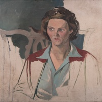 Artist Evelyn Dunbar: The Artists sister-in-law, Jill, seated in a Chippendale style chair, circa 1938