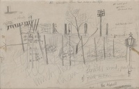 Artist Kenneth Rowntree: Study of fences and telegraph pole