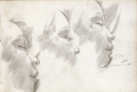 Artist Hubert Arthur Finney: Page from a sketch book: profile studies of girl sleeping