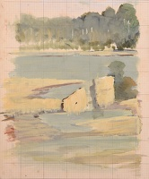 Artist Charles Cundall: Study at the foot of the Pont DAvignon, circa 1930