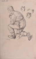 Artist Charles Mahoney: Study of a soldier for Our Lady of Mercy, 1942