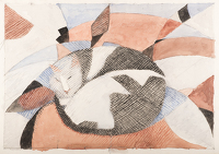 Artist Edith Lawrence: Fat cat sleeping