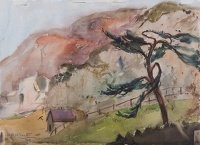 Artist Rudolph Sauter: Umbrella pine tree and farm house