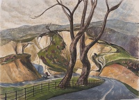 Artist Rudolph Sauter: Winding road with quarry looming over