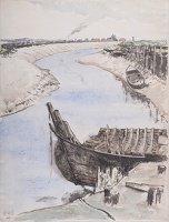 Artist Rudolph Sauter: Abandoned boat on the mud bank of an Estuary