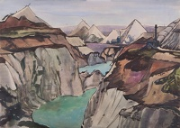 Artist Rudolph Sauter: Clay Pitts, with aqua-marine pools near St. Austell in Cornwall, 1948