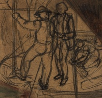 Artist Charles Mahoney: Lutyens conversing with a gardener, compositional study for Campion Hall, circa 1941