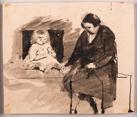 Artist Evelyn Dunbar: Woman and child seated on a bed