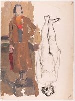 Artist Barnett Freedman: Figure study, woman in a woolen suit, circa 1925