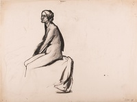 Artist Barnett Freedman: Study of a seated model, profile view,mid 1920s