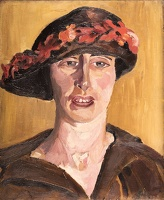 Artist Karl Hagedorn: Study of Nellie, the artists wife, in a hat decorated with flowers, circa 1910