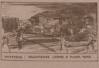 Artist Olive Mudie-Cooke: Wimereux: Volunteers Laying a Plank Road, circa 1920